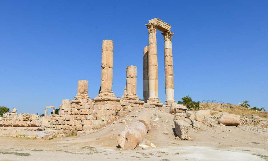 Roman archaeological remains of the Amman Citadel in Jordan