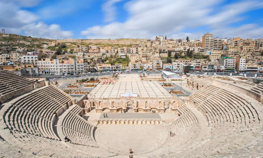 View over the archaeological remains of the Roman Amphitheatre in Amman, Jordan