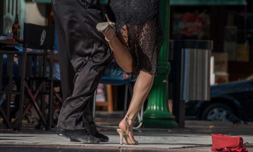 Two people doing the tango in Buenos Aires, Argentina