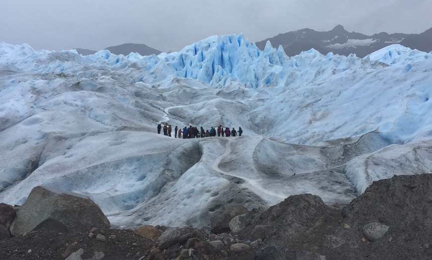 People trekking on the Perito Moreno glacier in Argentina