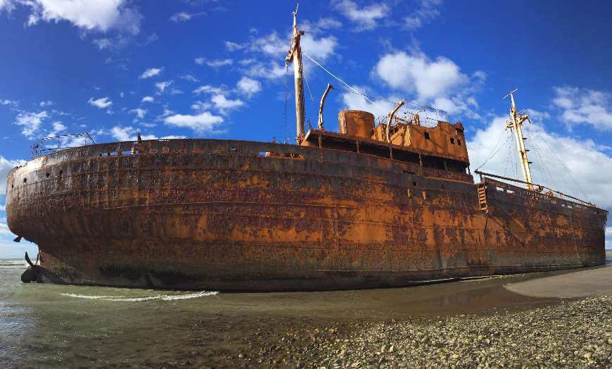Shipwreck of the Desdemona on a beach in Tierra del Fuego Province, Argentina