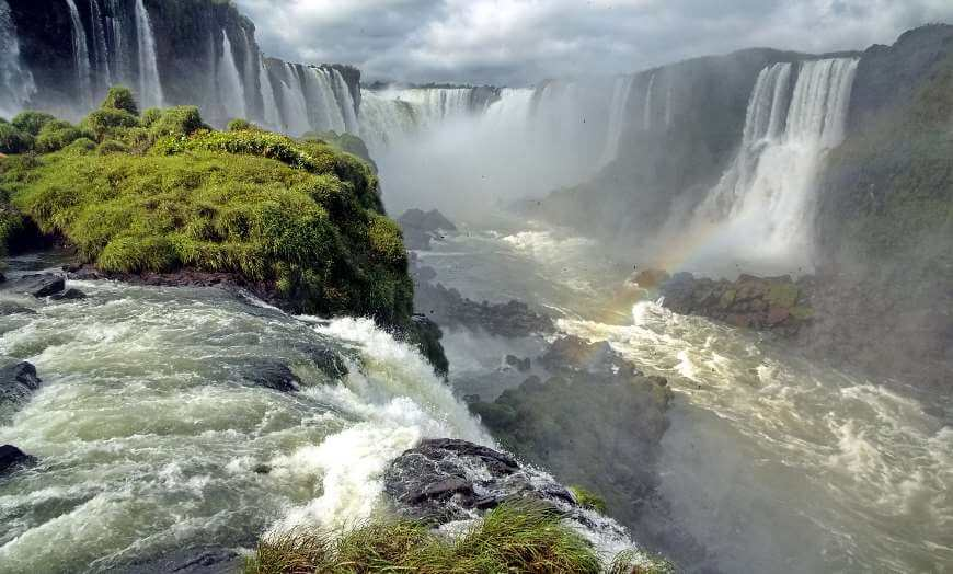Panoramic view of the Iguazu Falls on the Argentina-Brazil border