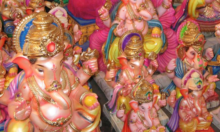 Multiple colourful statues of the God Ganesh to celebrate the Ganesh Chaturthi festival in India