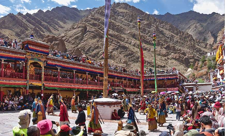 Crowds at Hemis Monastery attending the Hemis Festival in Ladakh, India