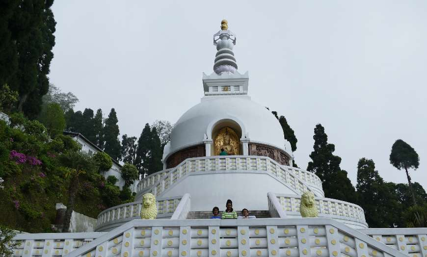 View of white-domed Japanese Peace Pagoda in Unawatuna