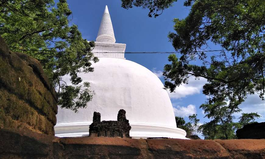 White Dagoba Temple in Polonnaruwa Sri Lanka