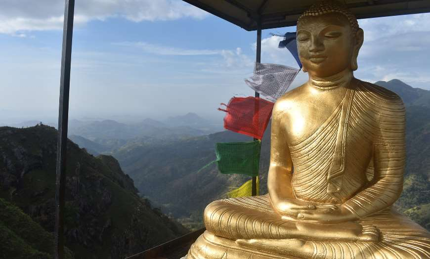Golden Buddha Overlooking Adams Peak Sri Lanka