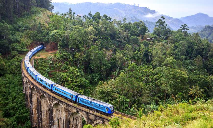 Nine Arch Bridge and Train in Ella Sri Lanka