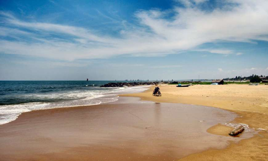 Wide sandy beach at Negombo, Sri Lanka