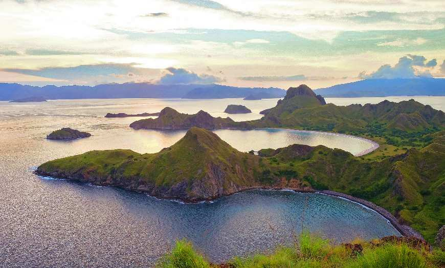 Sunset over Padar Island in Komodo National Park, Indonesia