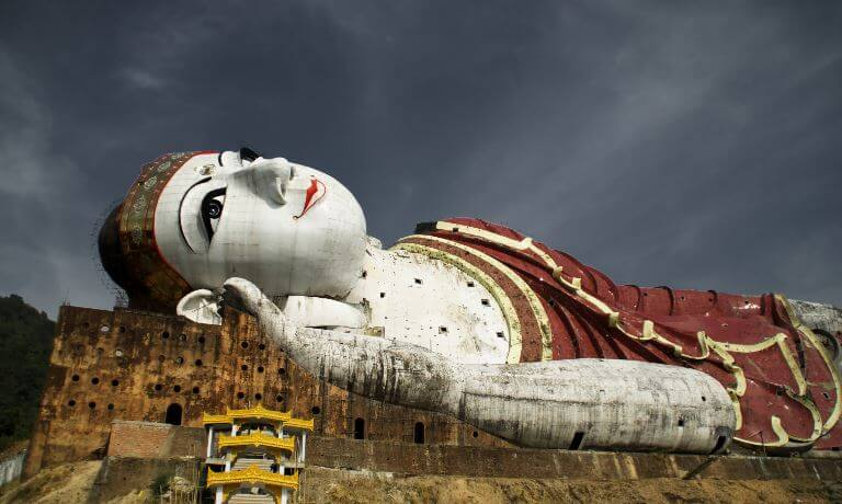 Ancient reclining Buddha in Burma