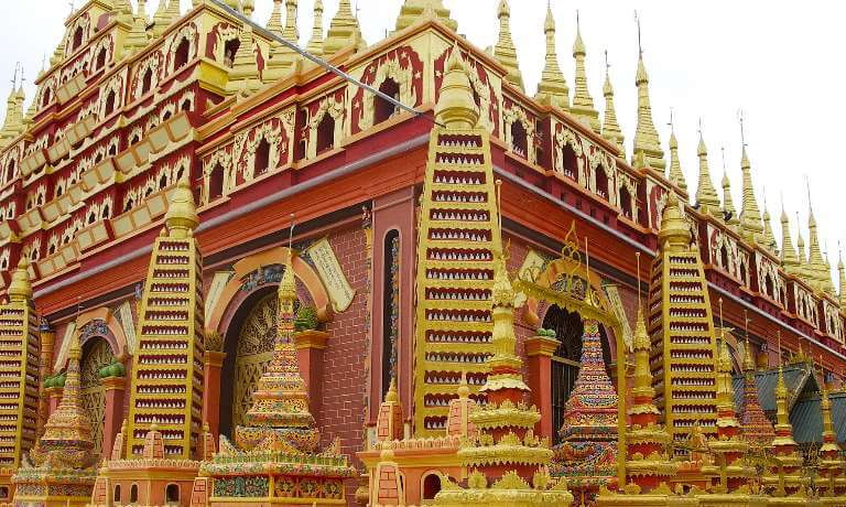 Multi-coloured temple in Burma