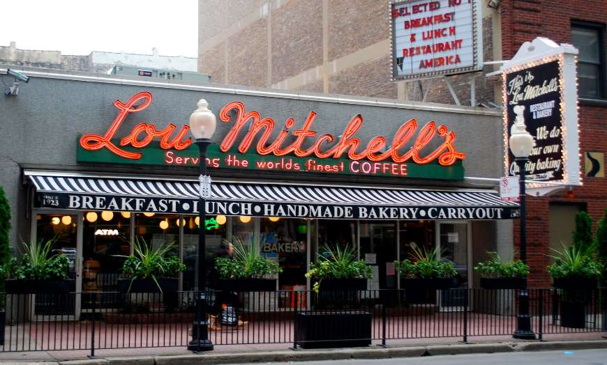 Charming frontage of Lou Mitchell's Diner in Chicago, Illinois