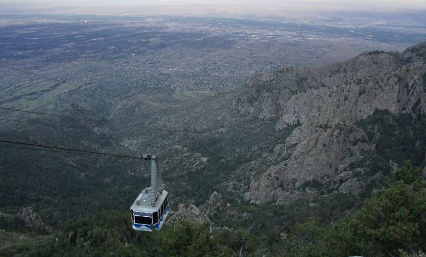 Panoramic view from the summit of the Sandia Peak Aerial Tramway in Albuquerque, New Mexico