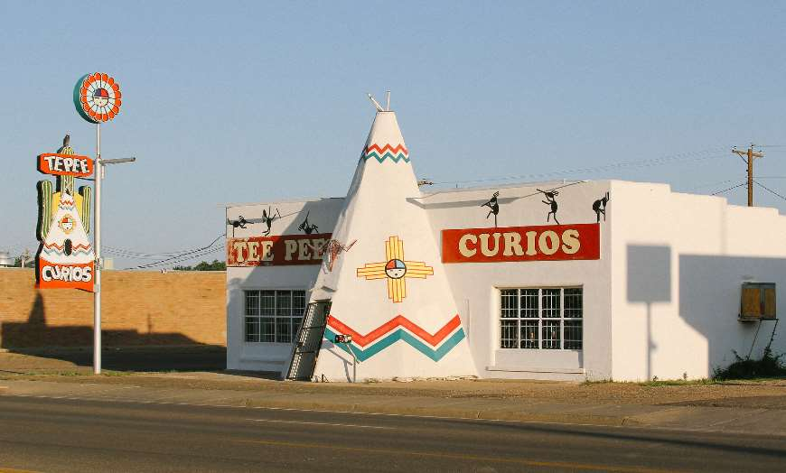 Unique architecture of the Tee Pee Curios Shop in Tucumcari, New Mexico