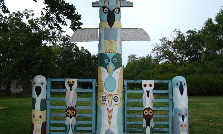 Colourful totem pole at Ed Galloway's Totem Pole Park in Foyil, Oklahoma