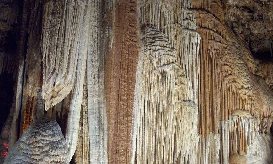 Stalagmites and stalactites of the Meramec Caverns in Stanton, Missouri