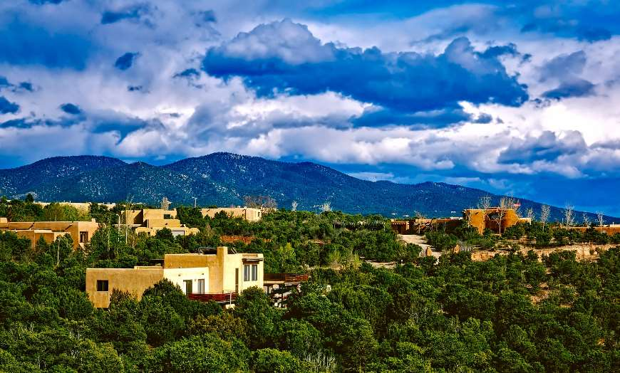 View of traditional adobe homes in Santa Fe, New Mexico
