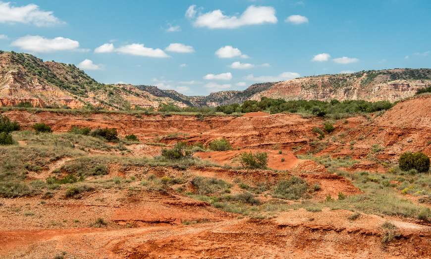 Panoramic view of the red rolling terrain of Palo Duro Canyon State Park