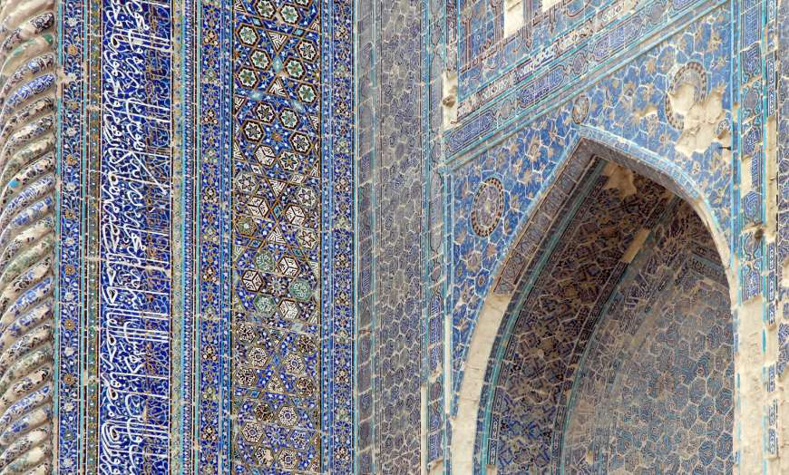 Close up detail of the intricate tiled design of the Ak Saray Palace in Shakrisabz, Uzbekistan