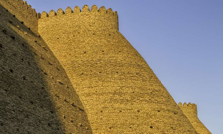 Huge brick walls of the Ark Fortress in Bukhara, Uzbekistan