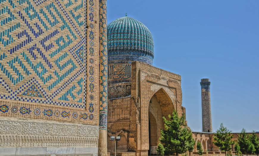 Beautiful decorations of the Bibi Khanym Mosque in Samarkand, Uzbekistan