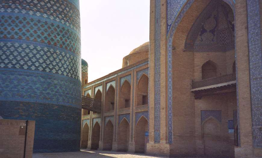 Edifice of the grand Madrasa of Muhammad Amin-khan in Khiva, Uzbekistan