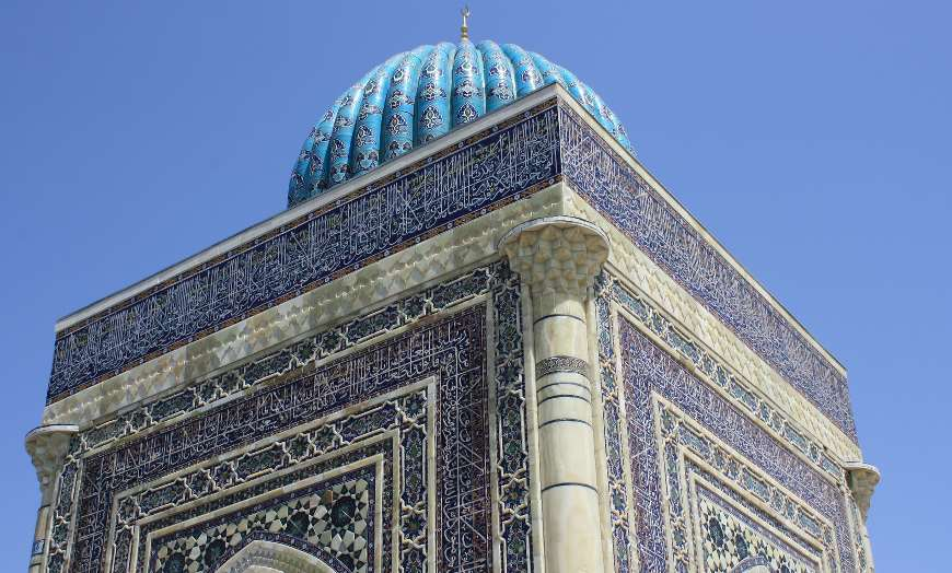 View of the blue dome of the Mausoleum of Imam al-Bukhari in Samarkand, Uzbekistan