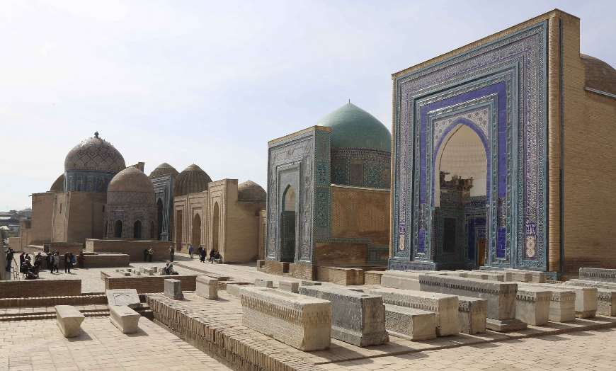 Ancient blue-domed buildings of the Shakhi Zinda Necropolis in Samarkand, Uzbekistan