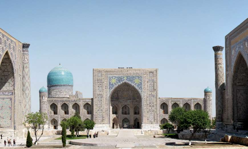 Towers and domes of Registan Square in Samarkand, Uzbekistan