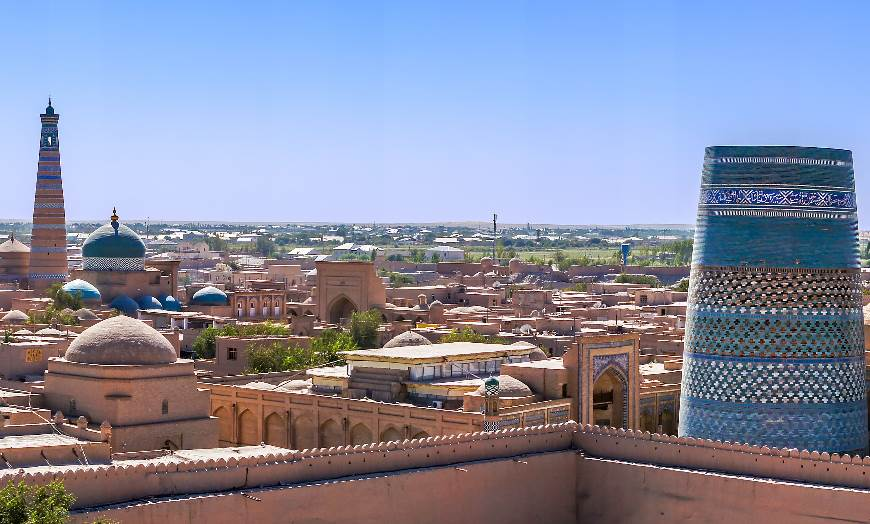 Panoramic view of the ancient Kunya-ark Citadel in Khiva, Uzbekistan