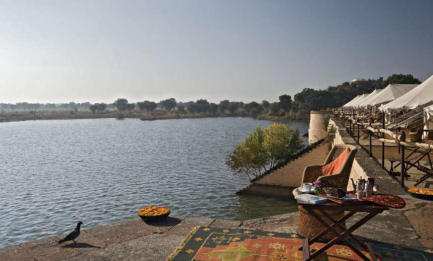 The tented camp of Chhatra Sagar in Rajasthan