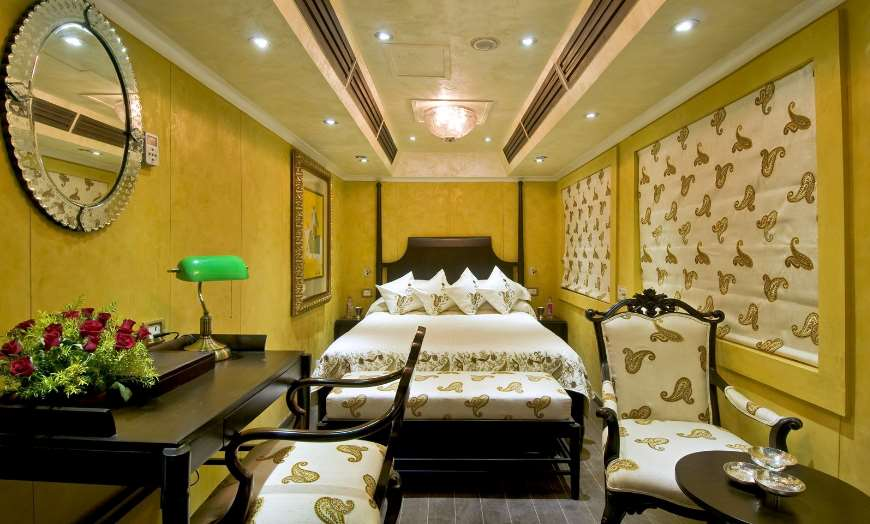 Interior of a cabin onboard the luxurious Palace on Wheels train in Rajasthan
