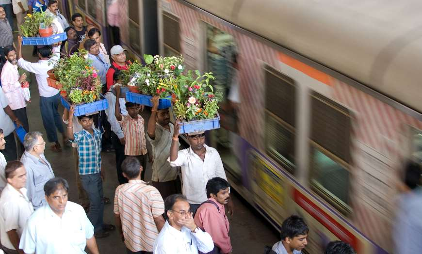 Busy train station in India
