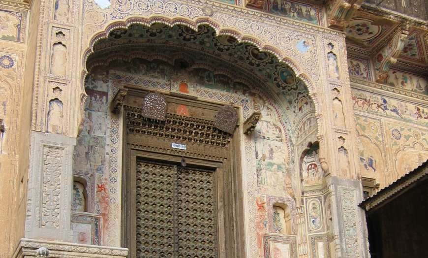 Traditional Shekhawati haveli with stencilled designs in Rajasthan