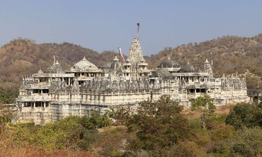 Marble spires of the Ranakpur Temples in Rajasthan