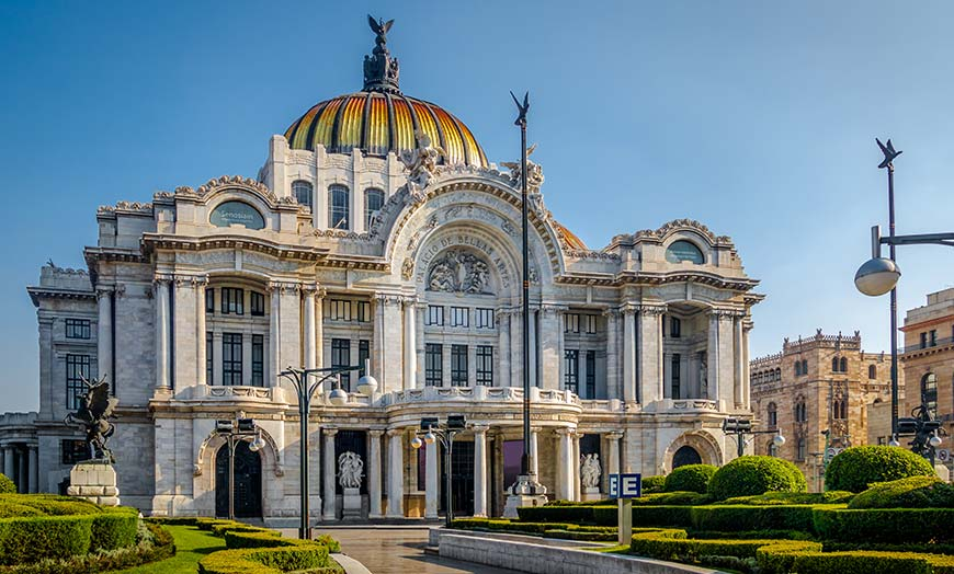 View of the magnificent dome of the Palacio de Bellas Artes in Mexico city