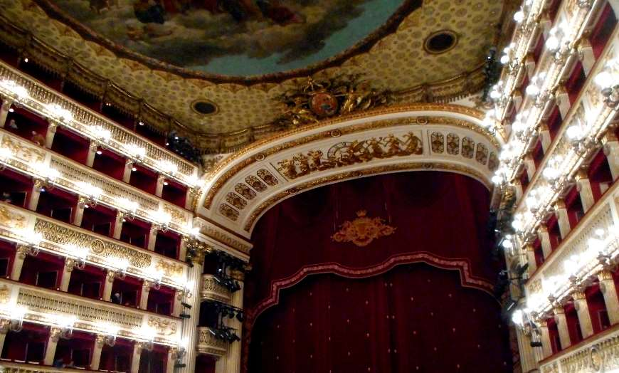 Opulent interior of the Teatro San Carlo in Naples