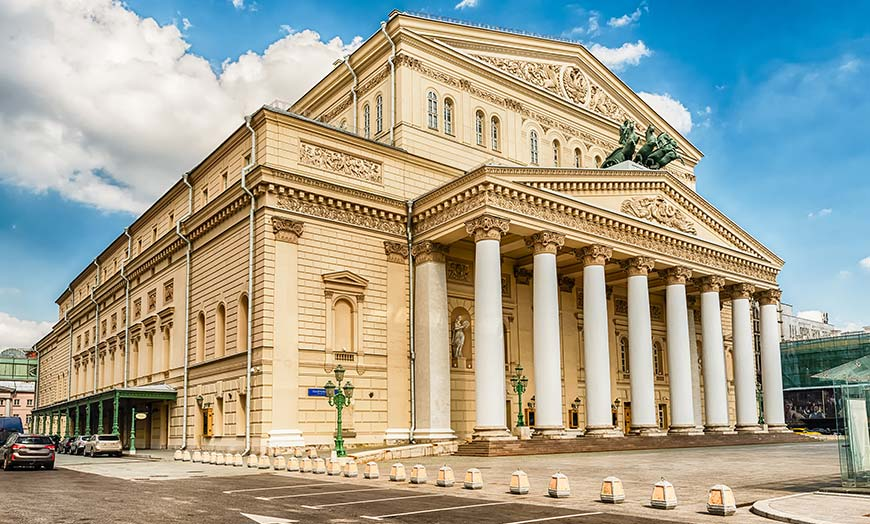 Classical frontage of the Bolshoi Theatre on a sunny day