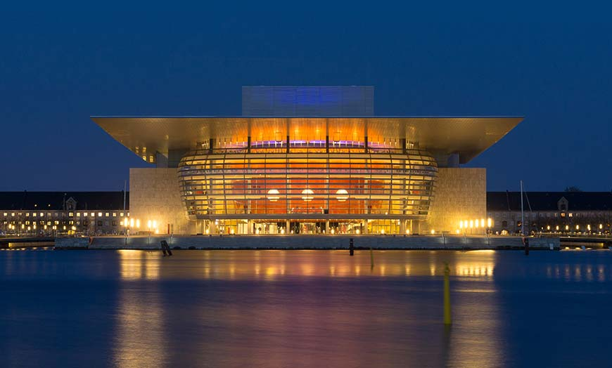 Modern facade of the Copenhagen Opera House