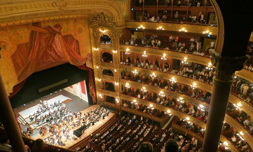 Interior of the Teatro Colon in Buenos Aires during an opera performance