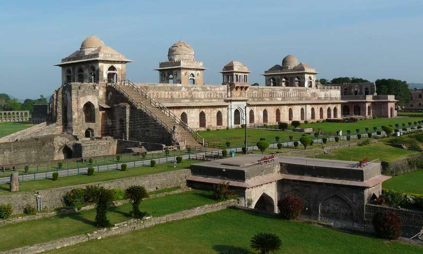 Historic structure of the Jahaz Mahal in mandu, India