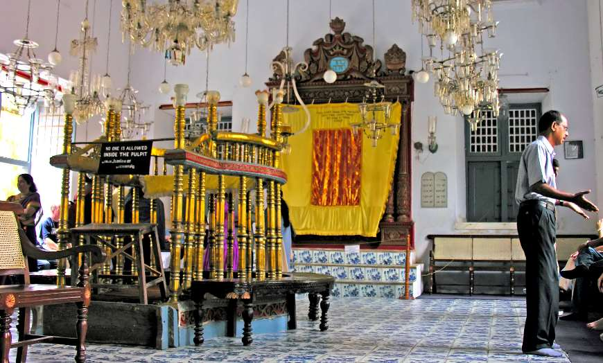 Opulent and historic interior of the Paradesi Synagogue in Kochi