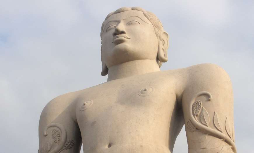 Close-up view of the monumental Jain statue at Sravanabelagola in India