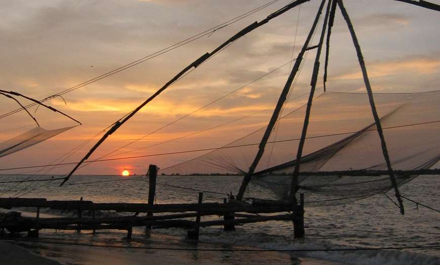 Chinese Fishing Nets in Kochi at sunset