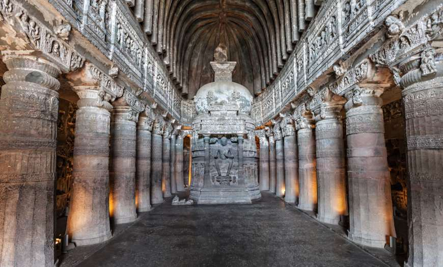 Interior of the one of the Buddhist caves of Ajanta in India