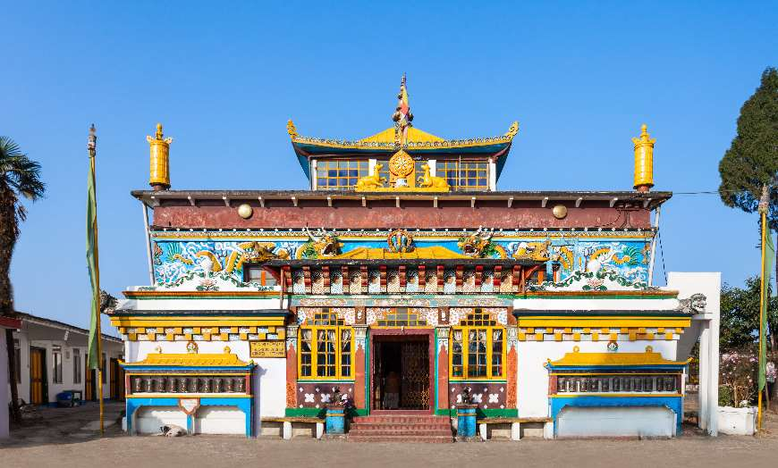 Multi coloured facade of the Buddhist Yiga-Choeling Monastery in Ghoom, India