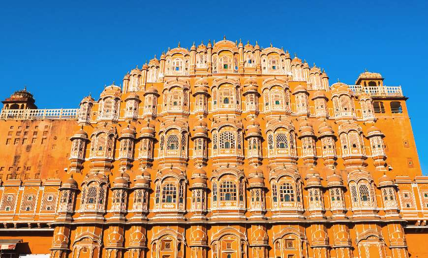 Ornate frontage of the Hawa Mahal in Jaipur, Rajasthan