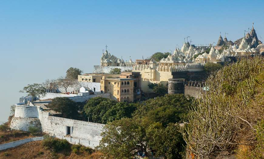Aerial view of some of the many Jain temples of Palitana in Gujarat