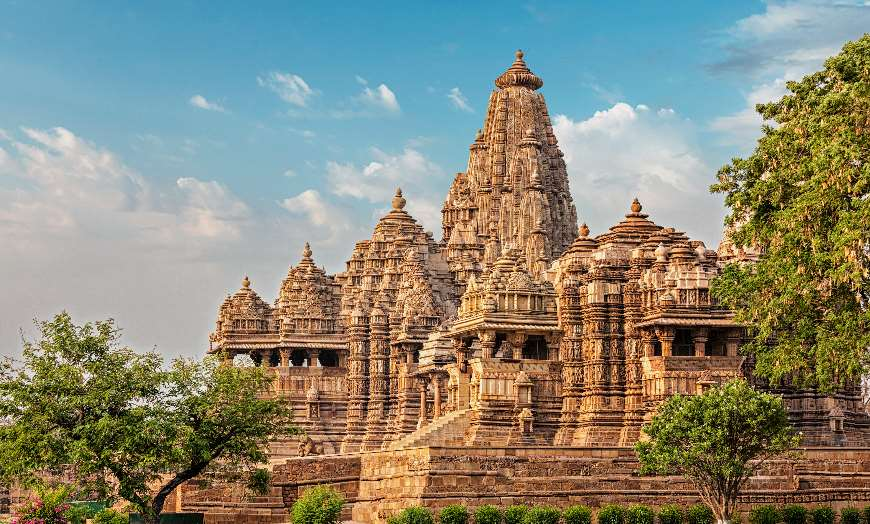 Beautiful intricately carved stone temple at Khajuraho in India
